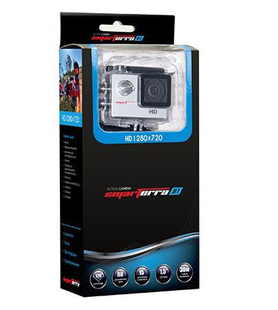 Экшн камера Smarterra B1 (серебристый)Экшн камера Smarterra B1 720P@30fps, 1.5 дисплей, угол обзора 120 серебристая.<br>