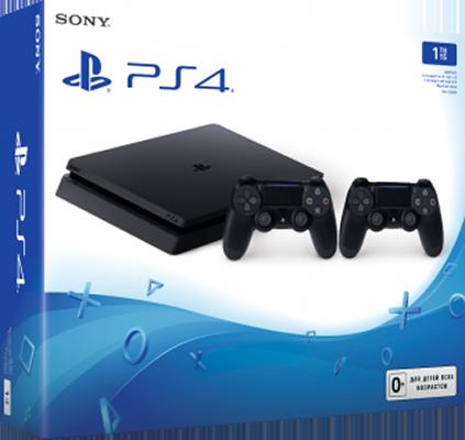 Игровая консоль Sony PlayStation 4 Slim (1 TB) Black + дополнительный контроллер (черный)Комплект включает в себя Sony PlayStation 4 Slim (1 TB) (Black) и дополнительный контроллер Dualshock 4<br>