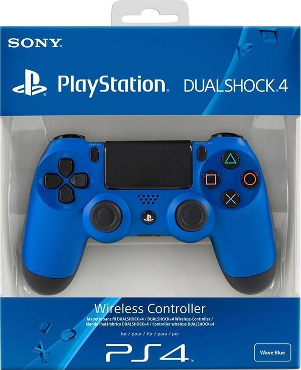 Беспроводной геймпад DualShock 4 Cont Wave Blue для PS4 (синий)Беспроводной геймпад DualShock 4 – контроллер нового поколения для новой эры видеоигр, который представляет собой большой шаг вперед в развитии игровых устройств управления.<br>