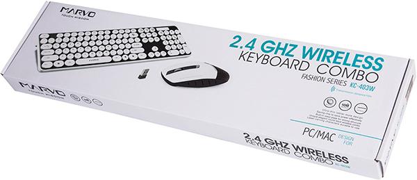 Комплект из беспроводных клавиатуры и мыши Marvo KC-403W BK для PCВ игровой комплект Marvo KC-403W BK входит стильная и функциональная низкопрофильная клавиатура с круглыми кнопками и оптической мыши с «тихим кликом».<br>