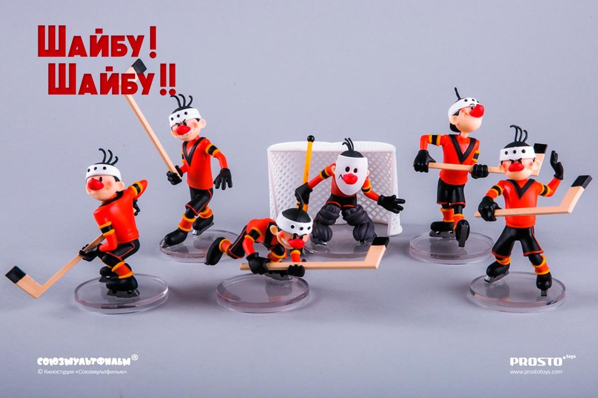 Набор коллекционных фигурок Шайбу! Шайбу!!Набор коллекционных фигурок Шайбу! Шайбу!! – это целая хоккейная команда из лучшего советского мультфильма на спортивную тему «Шайбу! Шайбу!».<br>