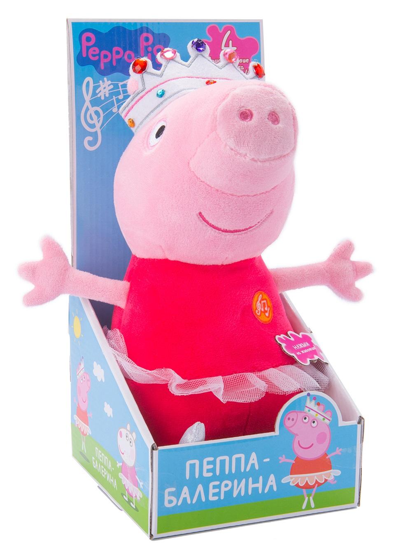 Мягкая игрушка Peppa Pig: Пеппа балерина со звуком (30 см)Красивая мягкая игрушка в виде Свинки Пеппы из одноименного мультфильма в очаровательной пачке и яркой короне – это замечательный подарок малютке к любому празднику.<br>