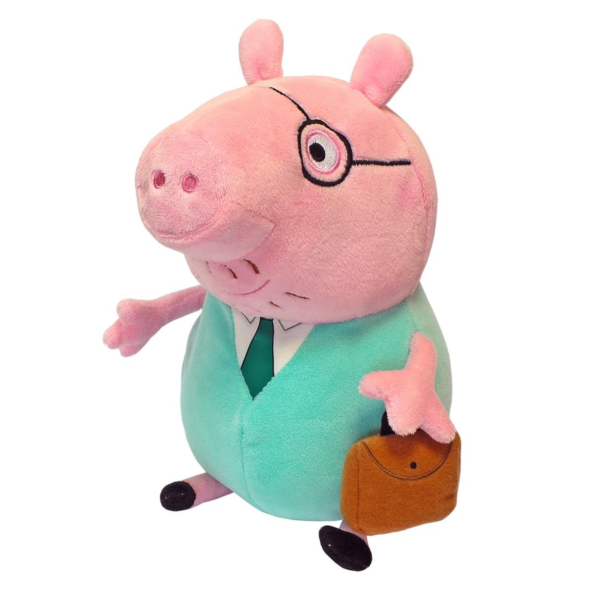 Мягкая игрушка Peppa Pig: Папа Свин с кейсом (30 см)Забавная мягкая игрушка в виде Папы Свина с галстуком и кейсом из мультфильма Свинка Пеппа – это замечательный подарок малышу к любому празднику.<br>