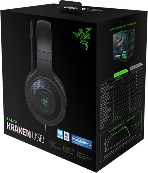 Гарнитура Razer Kraken USB для PS4 / PCДоставьте удовольствие своим ушам от полноценного игрового звука USB-гарнитуры Razer Kraken USB. Любой звук в игре будет восприниматься как виртуальный объемный звук с эффектом присутствия, настраиваемый под ваши потребности с помощью программного обеспечения калибровки Razer Synapse 2.0. Убирающийся поворотный микрофон с функцией подавления шума обеспечивает голосовое общение с командой и голосовую связь с абсолютной чистотой.<br>
