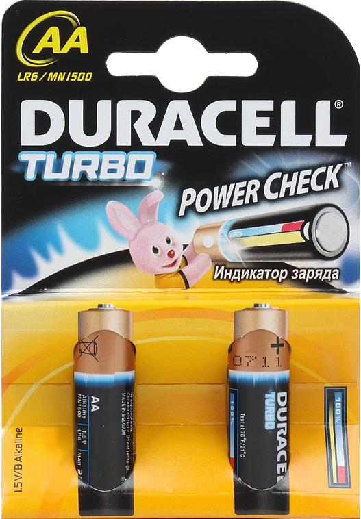 Элемент питания Duracell LR6-2BL turbo AA (2 шт.) батарея duracell professional lr6 2bl aa блистер 2 шт