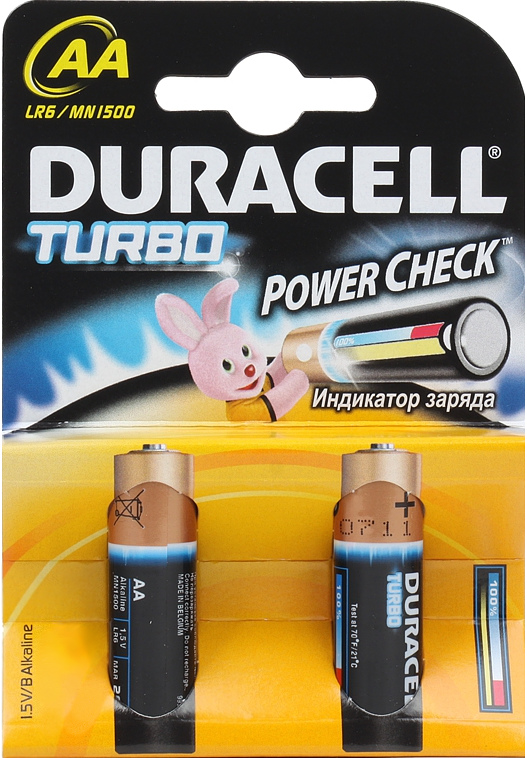 Элемент питания Duracell LR6-2BL turbo AA (2 шт.)