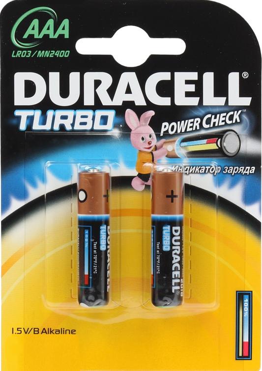 Элемент питания Duracell LR03-2BL turbo AAA (2 шт.)Уникальная новинка от Duracell, заслуживает внимания за свою оригинальность. Специальная разработка для высокотехнологических устройств, которая имеет индикатор заряда, поэтому вы всегда будете знать, сколько времени осталось работать вашему устройству от этих батареек.<br>