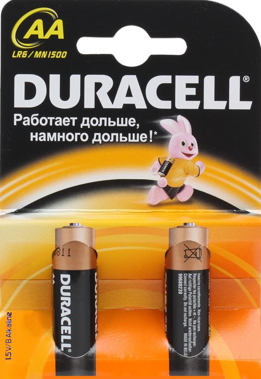 Элемент питания Duracell Basic LR6-2BL AA (2 шт.)Алкалиновые элементы питания производства Duracell в количестве две штуки.<br>