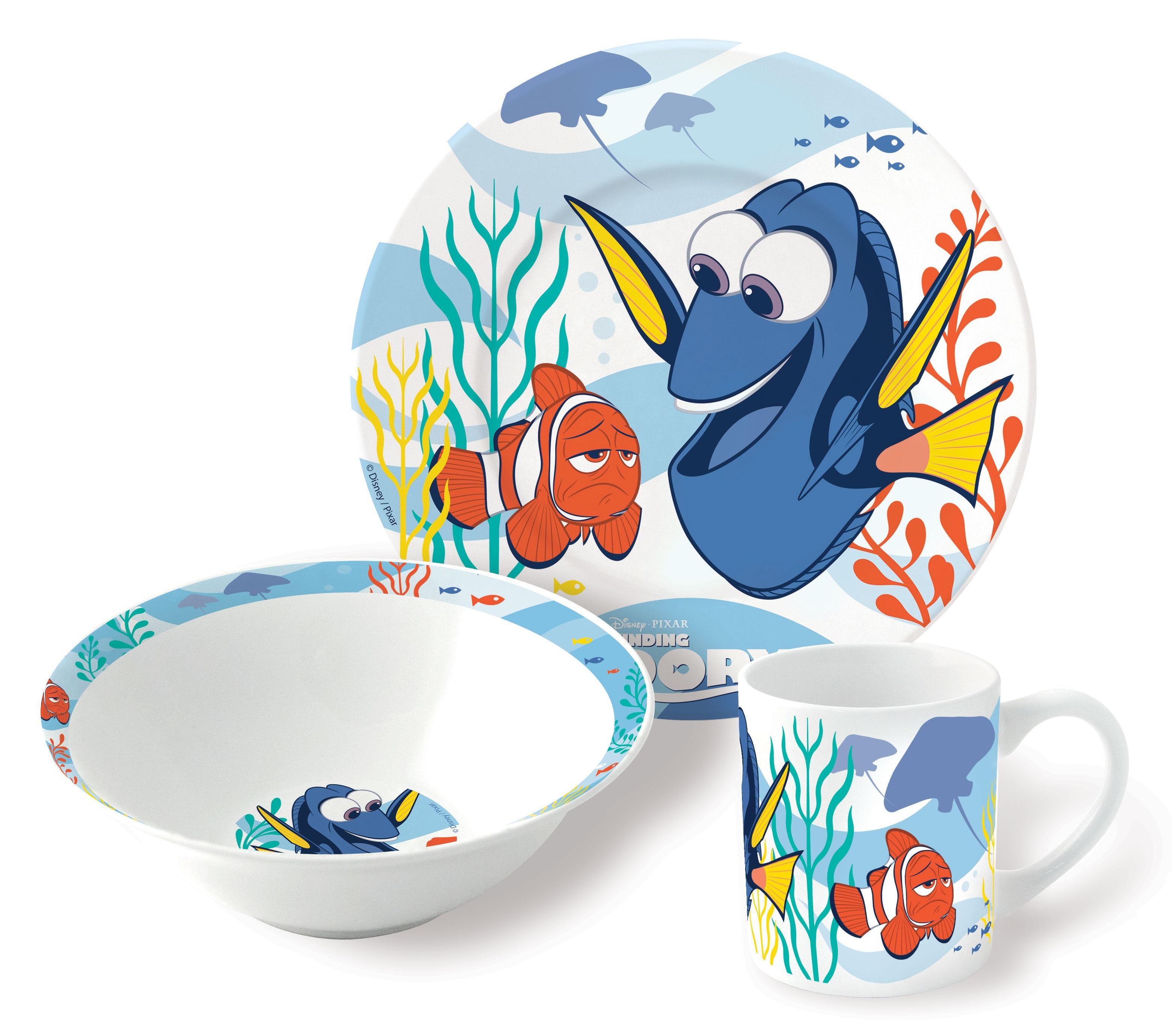 Набор посуды Finding Dory (3 в 1)Посуда Finding Dory c любим героем придет на помощь папам, мама, дедушкам, бабушкам, чьи дети отказываются от вкусной и здоровой пищи.<br>