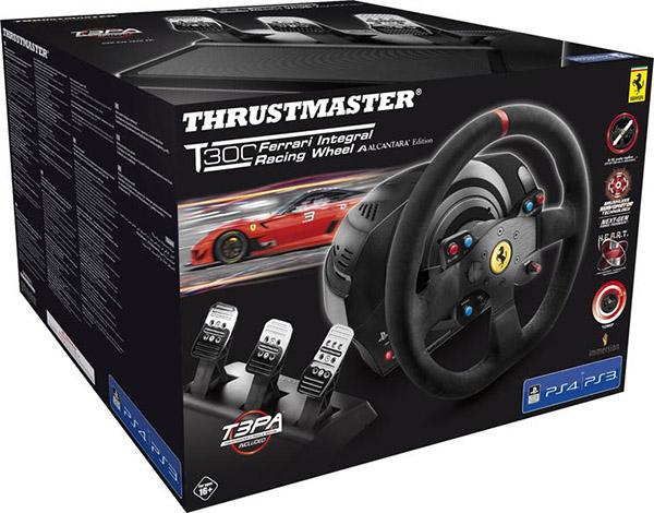 Гоночный руль Thrustmaster T300 Ferrari Integral Rw Alcantara ed eu для PS4 / PS3Гоночный руль Thrustmaster T300 Ferrari Integral Rw Alcantara ed eu нового поколения с силовой обратной связью для PlayStation 4 и PlayStation 3 (совместим также с ПК). Полная коллекция &amp;ndash; съемный руль Ferrari 599XX EVO (30 см, Alcantara) + база T300 Servo Base + педальный блок T3PA с 3 педалями.<br>