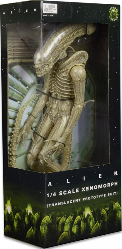 Фигурка Alien 1/4 ScaleTransculent Prototype Suit (56 см)Многочисленные просьбы армии фанатов фильма были наконец удовлетворены и теперь их коллекции могут пополниться одним из классических образов ксеноморфа, каким он был задуман изначально в культовом фильме ужасов 1979 года. Кожа Чужого была почти прозрачная с телесным оттенком, что вызвало множество технических сложностей, из-за которых цвет в последствии сменили на черный.<br>