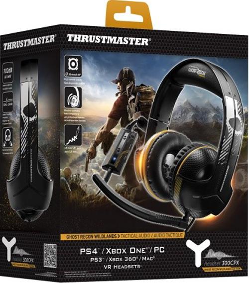 Игровая гарнитура Thrustmaster Y300CPX. Ghost Recon Wildlands Edition для PS4 / PS3 / Xbox One / Xbox 360 / PCИгровая гарнитура ограниченной серии Thrustmaster Y300CPX. Ghost Recon Wildlands Edition создана в глобальном партнерстве с легендарным брендом Ghost Recon. Она оптимизирована для полной поддержки систем PlayStation 4, PlayStation 3, Xbox One (совместимость с пультами Xbox One с 3,5-мм стереоразъемом типа «мини-джек»), PC, Xbox 360 и Mac. Совместимость также с гарнитурами для игр VR / Nintendo Wii U / Nintendo 3DS / PlayStation Vita / планшетами / смартфонами (с поддержкой функции вызовов).<br>