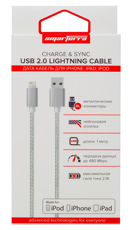 Кабель Smarterra STR-AL002M с разъемом Lightning для устройств Apple (серебристый)Кабель Smarterra обеспечивает быструю зарядку вашего устройства и осуществляет передачу данных на высокой скорости.<br>