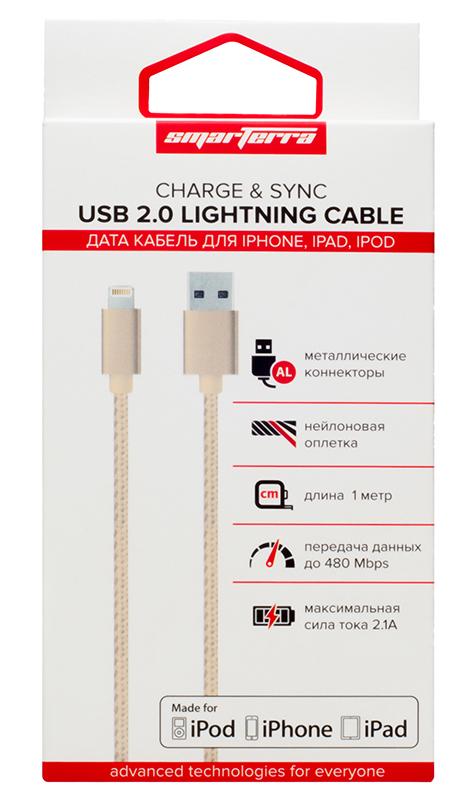 Кабель Smarterra STR-AL002M с разъемом Lightning для устройств Apple (розовое золото)Кабель Smarterra обеспечивает быструю зарядку вашего устройства и осуществляет передачу данных на высокой скорости.<br>