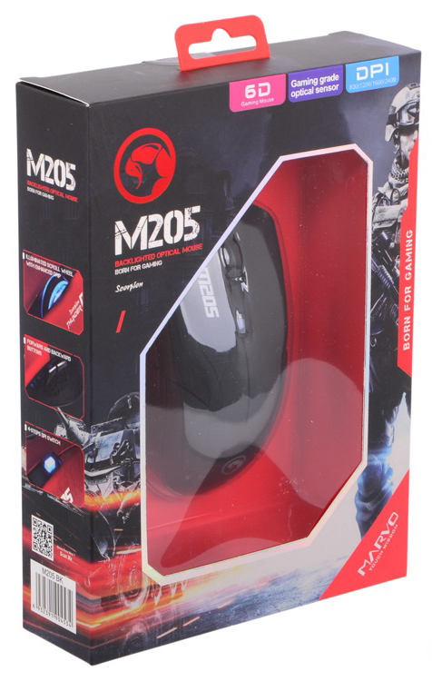 Мышь Marvo M205 BK проводная оптическая игровая для PCMarvo M205 BK &amp;ndash; игровая проводная оптическая мышь начального уровня<br>