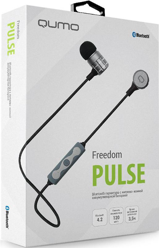 Bluetooth гарнитура Qumo Freedom PulseКомпактная Bluetooth гарнитура Qumo Freedom Pulse работает на современной версии Bluetooth 4.1. Металлический корпус с магнитной фиксацией обеспечивает надежность конструкции и делает продукт износостойким. Компактный, но емкий аккумулятор обеспечивает до 3x часов автономной работы, а удобное управление позволяет контролировать громкость, принимать и отклонять вызовы и управлять воспроизведением не доставая смартфон.<br>