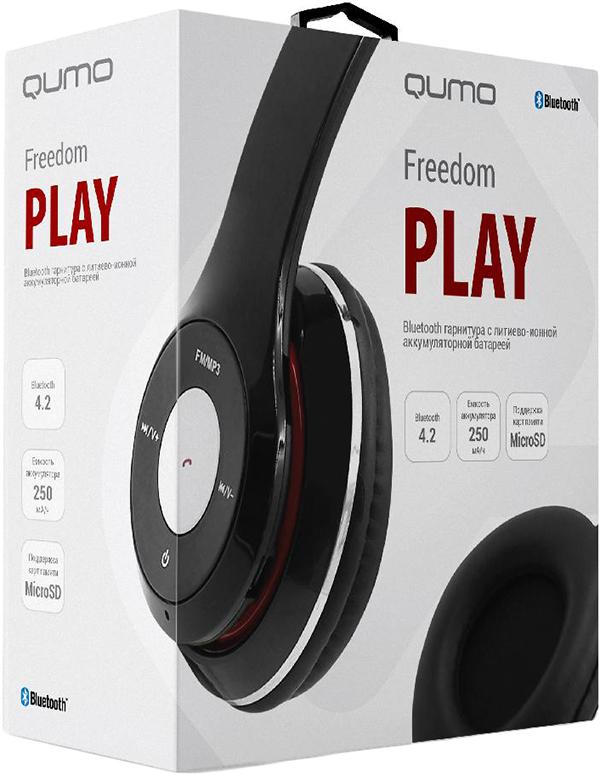 Bluetooth гарнитура Qumo Freedom PlayПолноразмерная Bluetooth гарнитура Qumo Freedom Play на основе современной версии Bluetooth 4.2. Помимо функции BT гарнитуры оснащена так же встроенным приемником FM радио и умеет воспроизводить музыку в формате MP3 с карты памяти формата Micro SD. Легкий пластик корпуса и мягкие амбушюры позволят с комфортом использовать гарнитуру каждый день.<br>