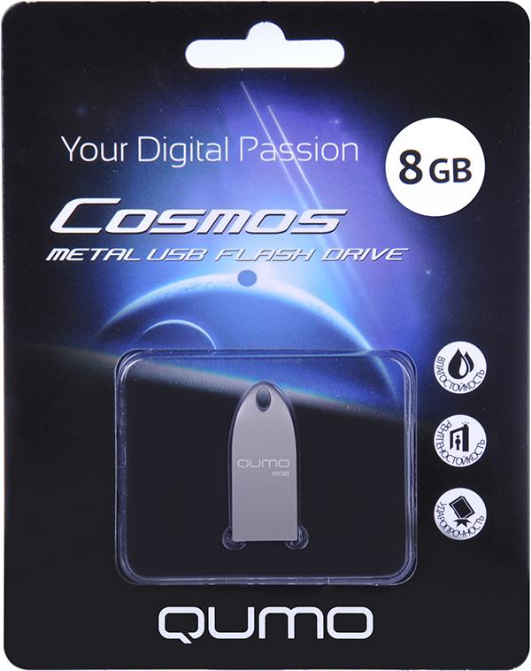 USB накопитель QUMO 8 GB Cosmos SilverУникальная флэшка Qumo Cosmos &amp;ndash; это надежное, современное устройство для хранения и перемещения информации. Обтекаемый ультрапрочный корпус из цинкового сплава превосходно защищает флешку от механических повреждений. Отсутствие колпачка делает использование Qumo Cosmos максимально удобным, а благодаря использованию СОВ технологии производства флеш-чипов, накопитель является влагозащищённым.<br>