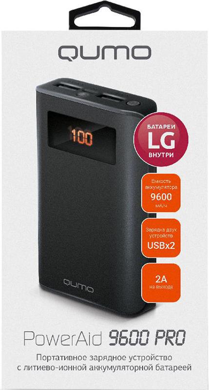 Портативное зарядное устройство Qumo PowerAid 9600 PROВнешний аккумулятор Qumo PowerAid 9600 PRO на 25% компактнее моделей-аналогов (в сравнении с моделями на 10400 мА-ч). Этого удалось добиться из за использования аккумуляторов LG, дорогих, но одних из лучших по качеству и запасаемой емкости. 9600 PRO заряжается до 2х раз быстрее (по сравнению с моделями со входом 1А).<br>