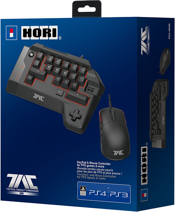 Кейпад Hori T.A.C. FOUR + мышь проводные оптические игровые для PS4Комплект из игровой мыши и кейпада Hori T.A.C. FOUR является более продвинутой модификацией сверхпопулярного тактического набора TAC 4.<br>