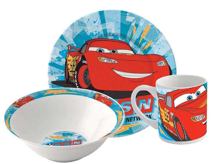 Набор посуды Тачки (3 в 1)Набор посуды Тачки созданный по мотивам американского полнометражного анимационного фильма 2006 года от студии Pixar.<br>