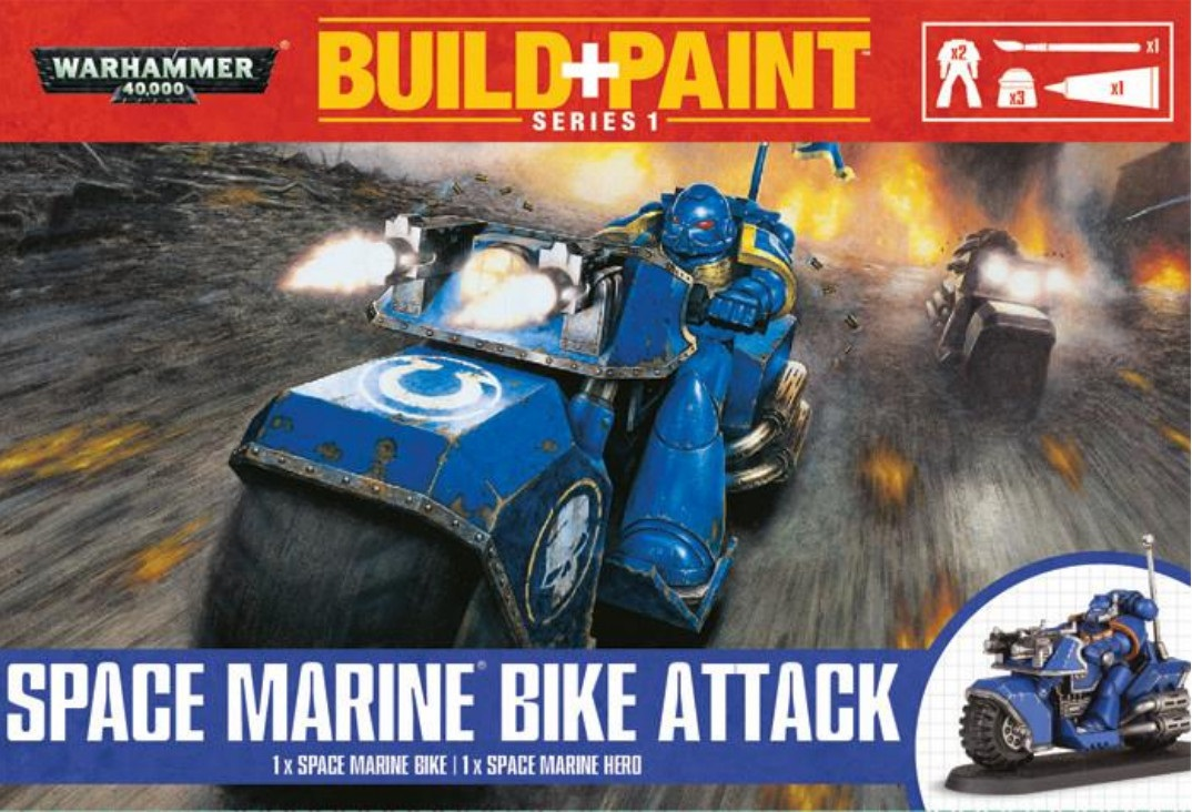 Warhammer 40 000: Miniatures Build+Paint – Space Marine Bike AttackПредставляем набор Warhammer 40 000: Miniatures Build+Paint – Space Marine Bike Attack.<br>