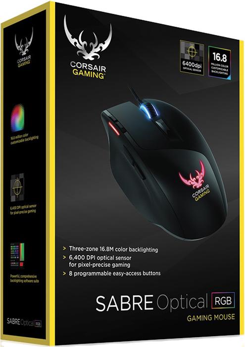 Мышь Corsair Sabre RGB проводная оптическая игровая для PC клавиатура corsair gaming k95 rgb cherry mx brown проводная игровая для pc