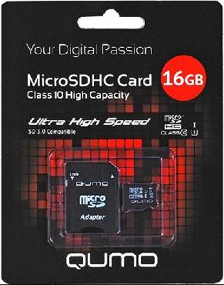 Карта памяти QUMO MicroSDHC 16 ГБ Сlass 10 UHS-I
