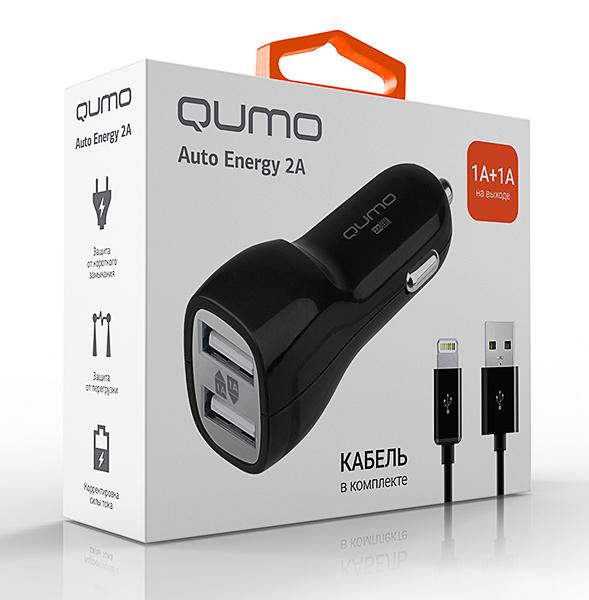Автомобильное зарядное устройство Qumo Auto Energy 2A 2 USB 1A+1A + кабель Apple 8 pin автомобильное зарядное устройство для apple interstep 1 usb 1a кабель lightning white