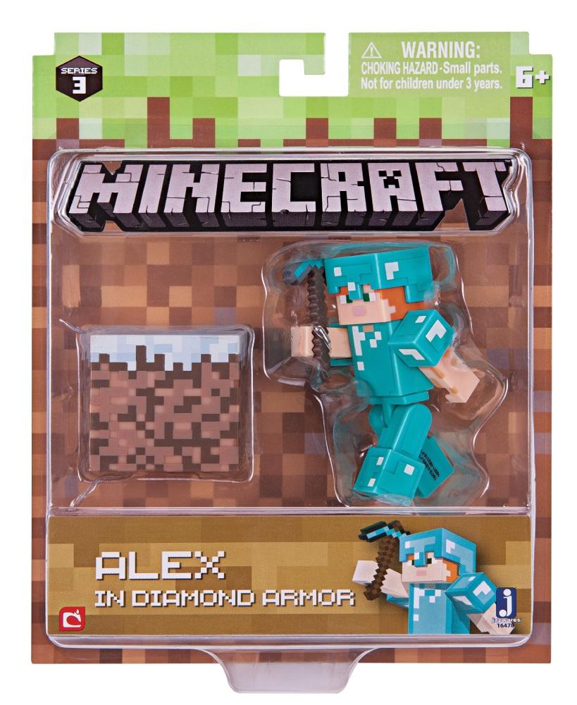 Фигурка Minecraft: Alex in Diamond Armor – Series 3 носки minecraft socks 3 pack green зеленые s 3 пары 11750