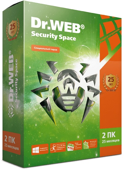 Dr.Web Security Space (2 ПК / 25 месяцев). Юбилейное изданиеDr.Web Security Space – комплексная защита от всех видов интернет-угроз для Windows, антивирус для Mac OS X и Linux: файловый и почтовый антивирус, SpIDer Guard и SpIDer Gate, родительский контроль, брандмауэр.<br>