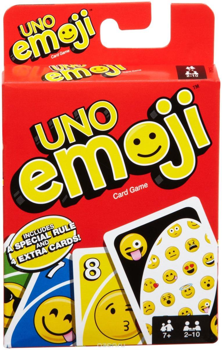 Настольная игра Уно: ЭмоцииНастольная игра Уно: Эмоции – это UNO, которое все любят. Но теперь в колоде есть карты с символами эмодзи, а правила требуют от игроков изображать эмоции, заложенные в символах.<br>