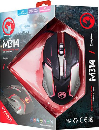 Мышь Marvo M314 проводная оптическая игровая для PCИгровая мышка Marvo M314 порадует вас стильным дизайном корпуса &amp;ndash; разработчики явно черпали вдохновение из  фильмов с космическими кораблями и технологиями будущего. Кроме стильного дизайна, мышка еще и начинкой хороша &amp;ndash; оптический сенсор, максимальная чувствительность 3200 DPI, четырехцветная дышащая подсветка, прочный кабель. Отдельно стоит похвалить колесико прокрутки &amp;ndash; оно имеет специальную форму для удобства использования.<br>