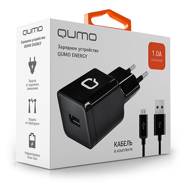 Сетевое зарядное устройство Qumo Energy 1USB 1A + кабель micro USBВысококачественное сетевое зарядное устройство с USB выходом, продуманной электроникой, способное обеспечить быструю и надежную подзарядку портативных устройств. Защищено от перегрузки, избыточного напряжения, короткого замыкания и перегрева.<br>