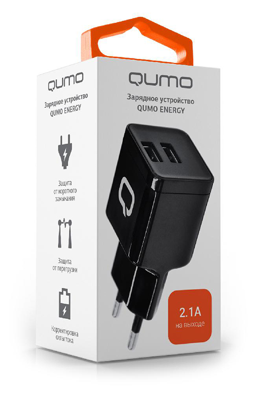 Сетевое зарядное устройство Qumo Energy Qumo Energy 2 USB 2.1AВысококачественное сетевое зарядное устройство с двумя USB выходами, продуманной электроникой, способные обеспечить быструю и надежную подзарядку портативных устройств. Защищено от перегрузки, избыточного напряжения, короткого замыкания и перегрева.<br>