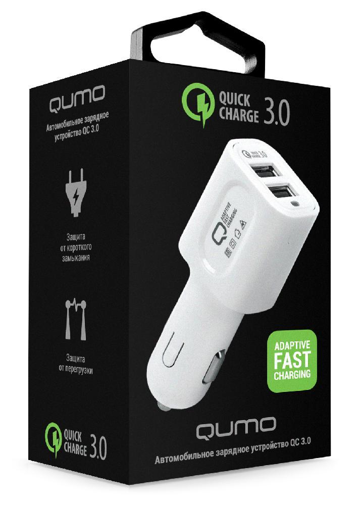 Автомобильное зарядное устройство Qumo Auto Energy Quick Charge 3.0Автомобильное зарядное устройство QUMO c поддержкой технологии Quick Charge 3.0 на двух портах - для быстрой зарядки устройств, основанных на процессорах Qualcomm Snapdragon 820, 620, 618, 617, 430 и Samsung Exynos 8890.&#13;<br>&#13;<br>Всего за 30 мин ваше устройство зарядится до 70% (при использовании оригинального кабеля и полной совместимости с Quick Charge 3.0) На текущий момент эту технологию поддерживают более 30 моделей смартфонов и планшетов.<br>