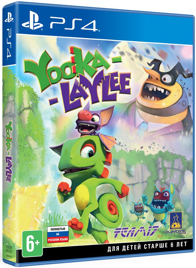 Yooka-Laylee [PS4]В компании с неразлучной парочкой Юкой и Лэйли отправьтесь в сумасшедшее приключение! В игре Yooka-Laylee вас ждут: незабываемые персонажи, запоминающиеся «боссы», скоростные испытания, аркадные мини-игры, соревнования по сети и многое другое!<br>