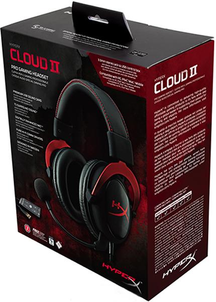 Гарнитура HyperX Cloud II Red проводная игровая для PCГарнитура HyperX Cloud II включает новый USB-блок управления звуком, усиливающий звук и голос для идеального Hi-Fi-гейминга &amp;ndash; вы услышите все, чего не слышали раньше. Откройте для себя целый мир деталей, о которых никогда не узнают другие геймеры: шелест ботинок туриста, извержение в кратере далекого вулкана.<br>