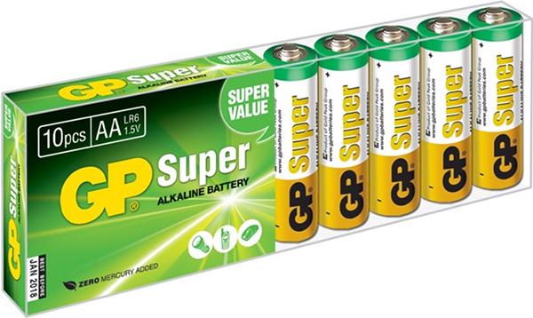 Элемент питания GP 1,5 В (АА, 10 шт.)Батарейки GP Super Alkaline1,5 В прекрасно подходят для увеличивающейся потребности в источниках питания для устройств повседневного использования. Идеальное соотношение цена/качество. Надежный продукт широкого спектра применения, подходящий для потребителей всех возрастов.<br>