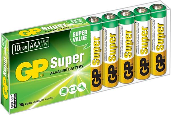 Элемент питания GP 1,5 В (ААА 10 шт.)Батарейки GP Super Alkaline1,5 В прекрасно подходят для увеличивающейся потребности в источниках питания для устройств повседневного использования. Идеальное соотношение цена/качество. Надежный продукт широкого спектра применения, подходящий для потребителей всех возрастов.<br>