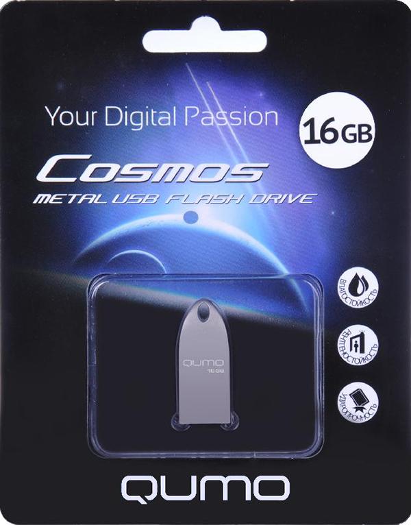 USB накопитель QUMO 16 ГБ Cosmos SilverУникальная флэшка Qumo Cosmos &amp;ndash; это надежное, современное устройство для хранения и перемещения информации. Обтекаемый ультрапрочный корпус из цинкового сплава превосходно защищает флешку от механических повреждений. Отсутствие колпачка делает использование Qumo Cosmos максимально удобным, а благодаря использованию СОВ технологии производства флеш-чипов, накопитель является влагозащищённым.<br>