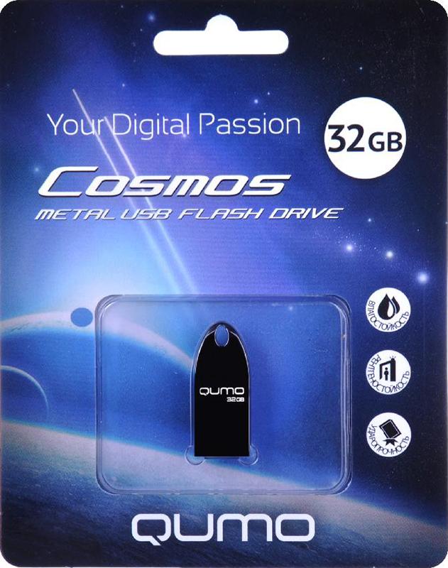 USB накопитель QUMO 32 ГБ Cosmos DarkУникальная флэшка Qumo Cosmos &amp;ndash; это надежное, современное устройство для хранения и перемещения информации. Обтекаемый ультрапрочный корпус из цинкового сплава превосходно защищает флешку от механических повреждений. Отсутствие колпачка делает использование Qumo Cosmos максимально удобным, а благодаря использованию СОВ технологии производства флеш-чипов, накопитель является влагозащищённым.<br>