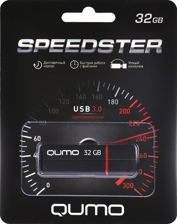 USB накопитель QUMO 32 ГБ Speedster 3.0 BlackQumo Speedster – высокоскоростной флеш-накопитель с «умным колпачком», который надевается на оба конца корпуса. Эта полезная функция не позволит колпачку потеряться.<br>