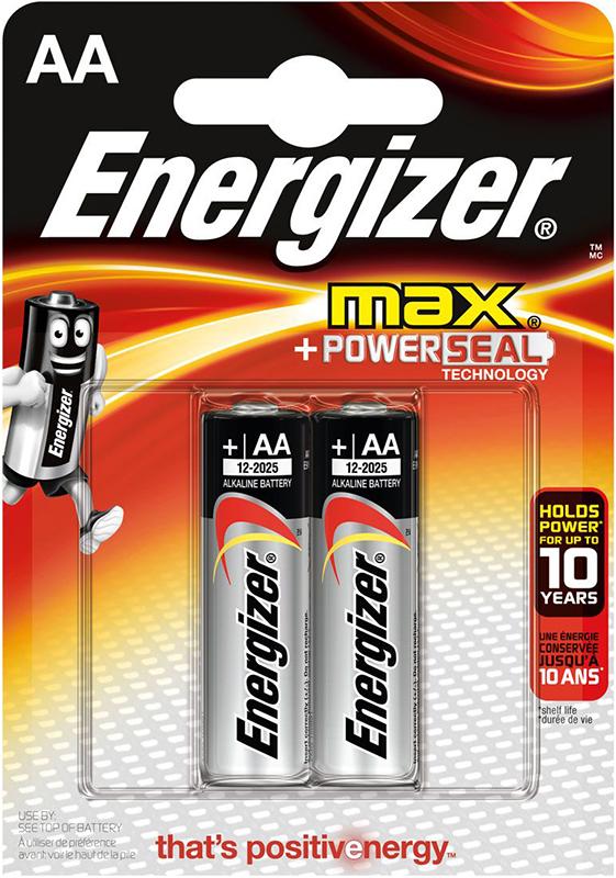 Элемент питания Energizer Max LR6/E91 АА FSB (2 шт.)Батарейка Energizer Max &amp;ndash; безотказный источник энергии для устройств повседневного пользования. Чаще всего применяется в пультах управления, небольших фонарях, часах, радио. Это первая в мире щелочная батарейка без ртути. Работает до 45% дольше, держит заряд до 10 лет. Стандартные щелочные батарейки Energizer защищены от протеканий.<br>