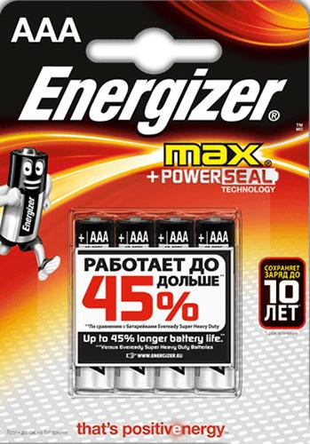 Элемент питания Energizer Max LR03/E92 AAA FSB (4 шт.)Батарейка Energizer Max &amp;ndash; безотказный источник энергии для устройств повседневного пользования. Чаще всего применяется в пультах управления, небольших фонарях, часах, радио. Это первая в мире щелочная батарейка без ртути. Работает до 45% дольше, держит заряд до 10 лет. Стандартные щелочные батарейки Energizer защищены от протеканий.<br>