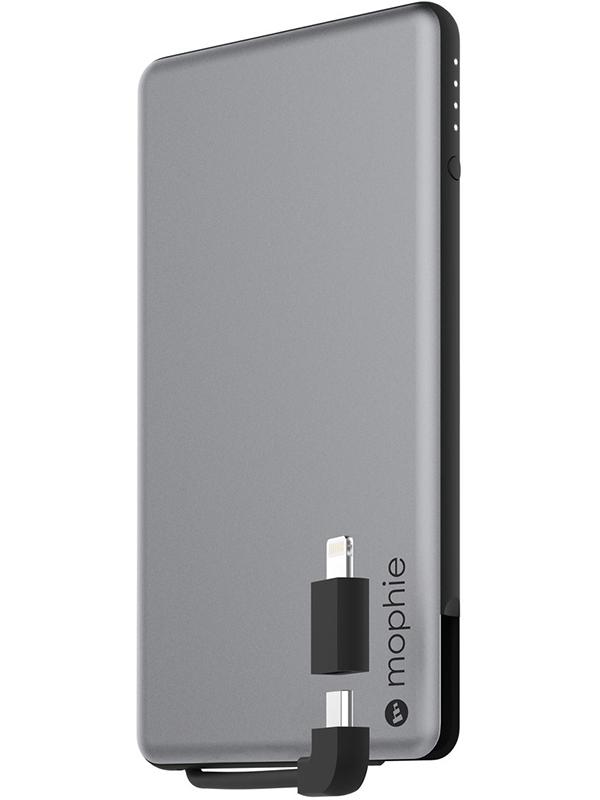 Портативное зарядное устройство Mophie Powerstation Plus (серый космос)Внешний портативный аккумулятор Mophie Powerstation Plus сочетает в себе компактный и изящный дизайн, алюминиевый корпус и непревзойденную мобильность. Имеется LED индикатор заряда. В устройство встроен кабель USB на Micro USB и имеется адаптер с разъемом Lightning. Таким образом, вы сможете зарядить как устройства Apple, так и большое количество устройств с разъемом micro USB.<br>
