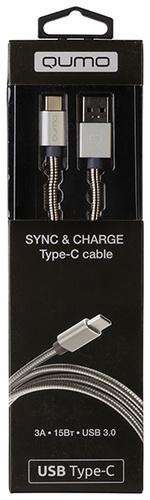 Кабель Qumo с разъемами Type C USB 3.0 (серебряный)Кабель Qumo Type-С имеет PVC molded коннектор и оплетку, серебряный цвет, USB 3.0.<br>