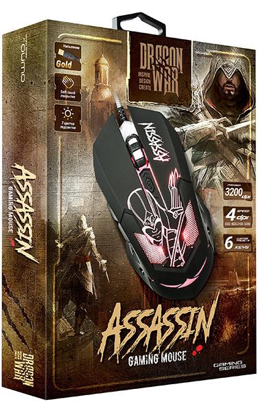 Мышь Qumo Dragon War Assassin M33 проводная оптическая для PCМышь Qumo Assassin M33 имеет 6 кнопок, матовое покрытие, встроенную подсветку и магнитный ферритовый фильтр помех.<br>