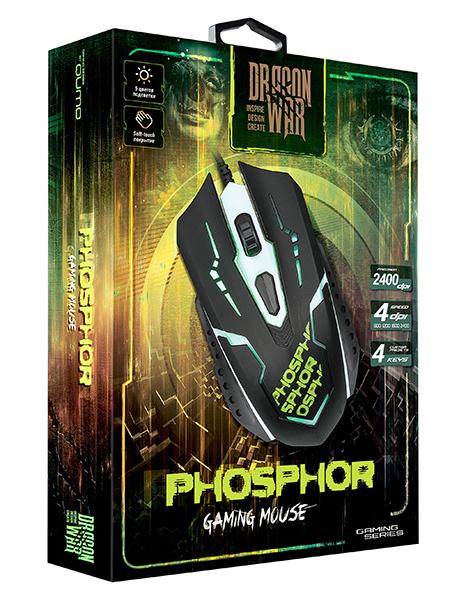 Мышь Qumo Dragon War Phosphor M32 проводная оптическая для PCМышь Qumo Dragon War Phosphor M32 привлекает стильной внешностью и оснащена 4 функциональными кнопками, имеет покрытие soft-touch и магнитный ферритовый фильтр помех.<br>