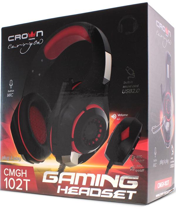 Гарнитура Crown CMGH-102T проводная игровая для PC (черный / красный) столик для ноутбука до 15 6 crown cmls 102 алюминий пластик